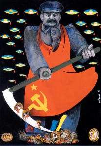 By: Bily Oleh Title :From Genocide of Culture to Genocide of Nation This is a political poster, drawn and coloured, depicting a soviet solider breaking pysanky. Pysanky are coloured eggs, an art form using bee's wax and dyes and are traditionally made around Easter by Ukrainians. He is breaking the pysanky with a scythe, which is usually used to cut wheat, which is how they starved millions pf Ukrainians, but taking away their food, their main food being wheat. The pysanky are broken at his feet and appear to be bleeding blood, representing the death of both Ukrainians and their culture.