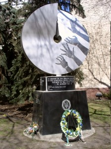 The Edmonton monument was the first Holodomor monument that was erected in Canada. It was unveiled in 1983, on the 50th anniversary of the Holodomor, the genocidal famine in Ukraine. It is located in front of Edmonton's city hall and was sculpted by Ludmilla Temertey.