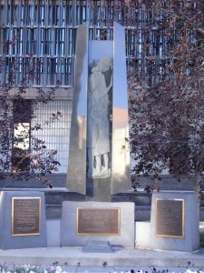 """This memorial, sculptured by Roman Kowal, was a gift to the city of Winnipeg from the members and friends of the Winnipeg branch, Ukrainian Canadian Committee. It was unveiled by his worship Mayor William Norrie, June 24th, 1984"" Monument erected: 24 June 1984, Winnipeg, Canada"