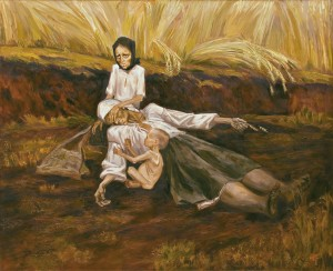 By: Marchenko Nina Title: Mother of the Year 33   This stylized painting depicts golden wheat ready to be harvested in the background, in the foreground a mother with swollen legs lies dead on her young daughters lap, the daughter hides her mothers face with her own emaciated hand. Along the side of the mother sits a naked toddler with a distended stomach who looks to be attempting to wake the mother.
