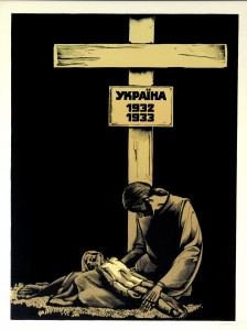 By: Nikolayets Oleksandr Title: Millions of Ukrainian peasants A black and white drawing of a parent and child sitting underneath a wooden cross. The child lies dead from starvation in lap of the parent who looks to be close to the same fate, head down, above them the cross says- Ukraine 1932 1933.