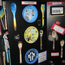 These are examples of art work done by students after learning about the Holodomor. Spoons and plates are used to represent the Genocidal Famine that the Ukrainian people suffered in 1932-33.