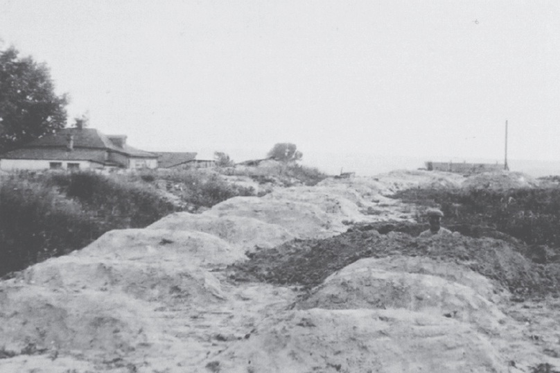 This is a black and white image taken in Kharkiv in the 1932-33 and is part of the Innitzer collection. This image depicts another one of the mass grave sites that had been used to bury the dead.