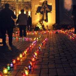 Kyiv Ukraine, Candle vigil in front of the first monument to the Holodomor in Kyiv – St. Michael's square.