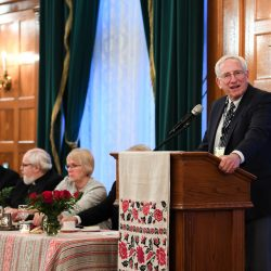 """Dr. Norman Naimark speaking about the """"Holodomor in the History of Genocide"""" during the commemorative dinner at the Fort Garry Hotel"""