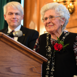 Holodomor survivor Mrs. Sonia Kushliak after giving her presentation during the commemorative dinner at the Fort Garry Hotel, with Master of Ceremonies Daryl Gervais, Director of Instruction, Curriculum and Assessment Branch, Manitoba Education and Training