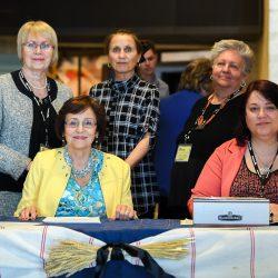 Conference organizers and volunteer: Top row, l–r: Val Noseworthy, Irka Balan, Sonia Lebedin (volunteer) Seated row, l-r: Valentina Kuryliw, Sophia Isajiw