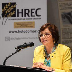 Valentina Kuryliw, HREC Director of Education, opening the 2017 Holodomor Education Conference
