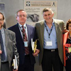 Dr. Denis Hlynka, Dr. Orest Cap, Dr. John Wiens, after their presentation, with Valentina Kuryliw