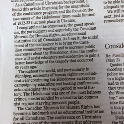 Comments on the conference in the Winnipeg Free Press, May 6 2017