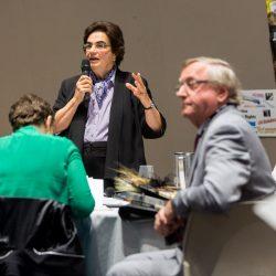 Dr. Joyce Apsel speaking during her Keynote presentation. Photo credit: Charlie McDougall