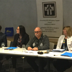 Panel Presentation: Human Rights and the Holodomor. (L–R) Dr. John Wiens (at podium), Dr. Richard Hechter, Lise Pinkos, Anthony Tavares, Linda Connor, Michael Anthony and Lana Babij. Photo credit: Sophia Isajiw