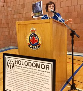 Valentina Kuryliw, Keynote Speaker at the 84th annual Holodomor Memorial Day commemoration in Hamilton, Ontario giving her presentation.