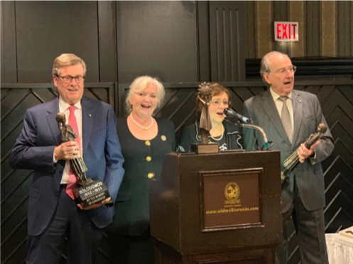"Rewa and Kuryliw surprised Mayor John Tory and James Temerty with special gifts of a small bronze replica version of Ukrainian artist Petro Drozdovsky's Holodomor Memorial monument, ""Bitter Memories of Childhood,"""