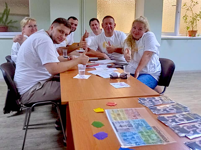 The teacher participants worked together enthusiastically in groups to recreate what happened in Ukraine in the 1930s.