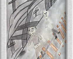 This piece of commemorative art depicts a man with a swollen stomach and a skeleton standing behind him in clothing. Behind both figures is a field of crosses demarcating graves. From: Josyf Cardinal Slipyj School