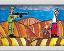 This piece of commemorative art depicts a Ukrainian Held at gun point with food at his feet in a basket with empty rolling fields tilled all around them. From: Josyf Cardinal Slipyj School