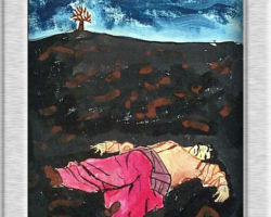 This piece of commemorative art depicts a Ukrainian lying, eyes closed in dark soil with a bare tree in the background. From: St. Demetrius School