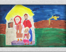 This piece of commemorative art depicts a Ukrainian family in a house, all of them sad with a bare field in the background. A lone lone stalk of wheat sits in the field bent in the wind. From: St. Sofia School