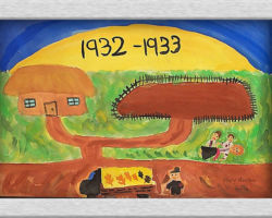 This piece of commemorative art depicts a house and a family who was kicked out. They are lying on the side of the road, there is an empty garden, and the years 1932-1933 written into the sun. In the foreground is an official taking the food away, presumably from the garden, on the back of a wagon. From: St. Sofia School