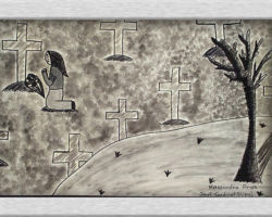 Title: Victims of the Holodomor, 2000 This piece of commemorative art depicts a woman at a grave site, praying on her knees. There are crosses all around her and in the foreground a bare tree. This art piece has been done in black and white. From: Josyf Cardinal Slipyj School