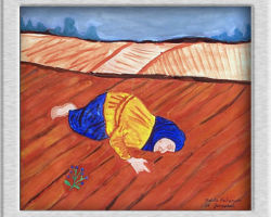 This is a replica of a famous painting title Zemliia (The Earth) by Bohdan Pevny. The painting depicts a woman clutching at the earth, with a bunch of forget-me-knots laying by her side. The foreground and background are bare rolling fields. From: St. Josaphat School
