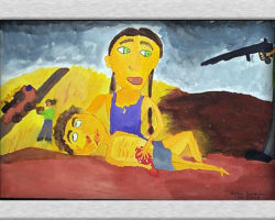 This piece of commemorative art depicts a woman holding a loved one dead in her arms after he was shot, shes being held at gun point for putting for in her mouth. Her hand covers the loved ones wound as it bleeds. From: St. Sofia School