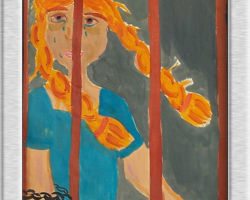 This painting depicts a woman held behind bars, she looks like she hasn't slept, has swollen eyes, and is crying. From: St. Sofia School