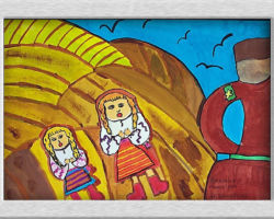 This painting depicts two Ukrainian girls lying in a field with their eyes and mouth open, their is an official in the foreground. From: St Demetrius School