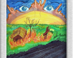 Title: Sun Eyes This painting depicts a house, a tree and a cross on fire on the side of the road in an otherwise green field. The sun shines and above it, blue eyes sit in its shinning light. From:St. Sofia School