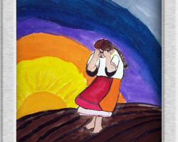 This piece of commemorative art depicts a Ukrainian woman crying in an empty field, with a bright sun setting in the background. From: St. Demetrius School