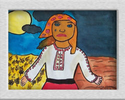 Title: Land Once Golden & bright turned into darkness overnight - 2000 This painting depicts a woman standing in the foreground her arms outstretched, on the left side of the painting in the background a golden field of wheat and a bright blue sky, with a sun and some clouds, on the left side a dark navy blue sky and an empty field. From: St. Sofia School