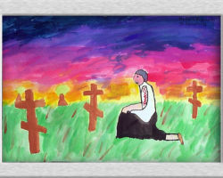 This piece of commemorative art depicts a person kneeling at a grave in a field of graves. The sky colours would suggest it's dusk. From: St. Demetrius School