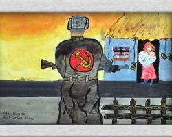 This painting depicts a woman standing in the doorway of her house with a baby in her arms. In the foreground we see the back of an official with the hammer and sickle, s communist symbol on his uniform, he is carrying a gun and seems to be headed toward or guarding the house so she can't leave. From: Josyf Cardinal Slipyj School