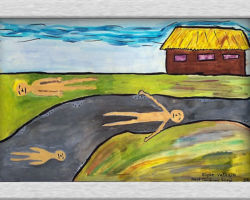 This painting depicts a dead family lying outside of a house. The ground is a muddy colour and the sky is gray and blue. From: Josyf Cardinal Slipyj School
