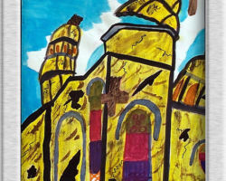 This painting is of one of the Ukrainian orthodox churches being destroyed, which is representative of the destruction by the Soviets at that time, many Ukrainian church's were destroyed by Soviet Officials. From: Josyf Cardinal Slipyj School