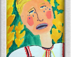 This painting depicts a crying Ukrainian child with wheat fields behind him. From: St. Sofia School
