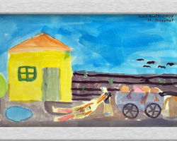 Title: Death at our door, 2000 In this commemorative painting their is a farm house to the left, and an empty field to the right in the background and in the foreground is a wagon with a person collecting dead bodies and placing them on a cart to be taken to be buried. From: St. Josaphat School