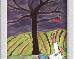 In this painting a Ukrainian woman is lying on her back and reaching up at an apple on an otherwise bare tree, there is an empty basket to her left and rolling fields in the background. The sky is a dark navy blue with a full moon in the top left corner. From: Josyf Cardinal Slipyj School