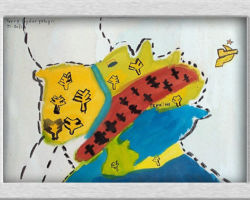 This commemorative painting is of a map of Ukraine, it's gives indication of where people where being staved, although perhaps not entirely correct geographically or historically, the painting is representative of what the Student understood of the Holodomor that took place in Ukraine. From: St. Sofia School