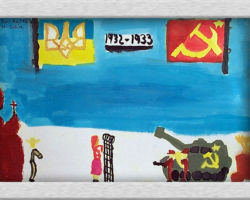 This commemorative painting depicts a two sides concept, on the top left is the Ukrainian flag and the Tryzob, or Trident in the center top the years 1932-1933 and next to that the communist flag with the hammer and sickle. Below on the left side a woman stands in the center behind a gate facing the other side, which is to be understood as Soviet Russia. Behind her on the left in the corner is an Orthodox Ukrainian church and a thin farmer in front of it. On the right hand side is the Soviet military, pointing guns and artillery at the gate at what would be representative of Ukraine. From: St. Sofia School