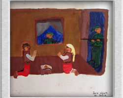 This commemorative painting depicts a family inside a home praying on their knees, a father on the left, a child in the center and a mother on the right. In the windows and the door are soviet officials holding guns. From: St. Sofia School