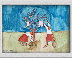 This commemorative painting depicts two women hanging bodies on a bare tree as if to dry. From: Josyf Cardinal Slipyj School