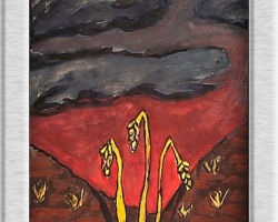 This commemorative painting depicts a dark red brown filed against dark black and gray skies, in the foreground three stalks of bent golden wheat. From: St. Sofia School