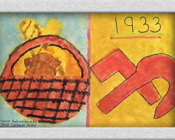 This commemorative painting has a basket of food on the left side and on the right side the year 1933 and a hammer and sickle. From: Josyf Cardinal Slipyj School