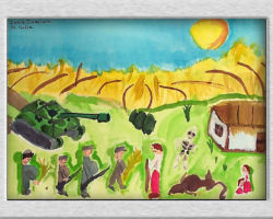 This commemorative painting depicts a Ukrainian family out on the lawn outside of their house, a skeleton also lays next to the house. A golden field resides in the background under a blue sky and full sun. Next to the family in the foreground are officials with fat stomachs and guns, taking wheat away from one of the family members. From: St. Sofia School