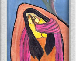 This painting depicts a woman crying under a bare tree against a blue sky. From: St. Demetrius School