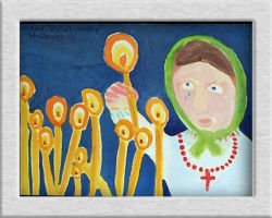 Title: Candles lit in the dark praying for God's help – 2000 This commemorative painting depicts a Ukrainian woman crying and placing a candle, this is symbolic of commemorating the dead. From: St. Demetrius School