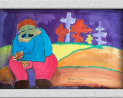 Title:Crosses and graves over Eastern Ukraine, 2000 This commemorative painting depicts a Ukrainian man sitting with is eyes closed with a sadden face, in the background are graves with crosses over them. From St. Demetrius School