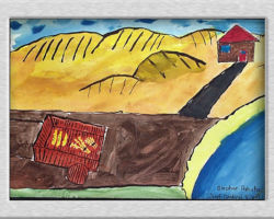 This commemorative painting depicts a farm house out in a field and a road leading to an empty plot of land with a cart that has some food in it. From Josyf Cardinal Slipyj School